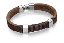 Brown Leather and Wrapped Cord Bracelet