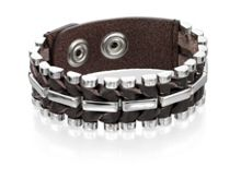 BROWN LEATHER AND STEEL POPPER CUFF