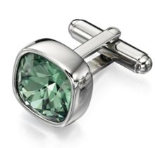 Steel green crystal cufflinks