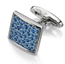 Fred Bennett Blue Leather Textured Square Cufflinks