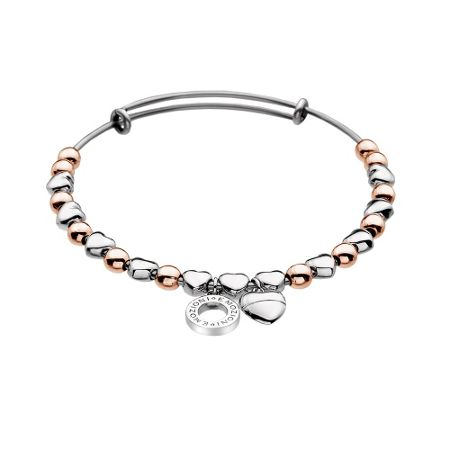 Emozioni Silver and rose gold plated bangle