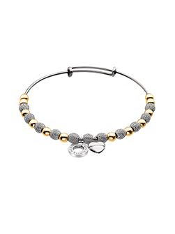 Silver and yellow gold plated bangle