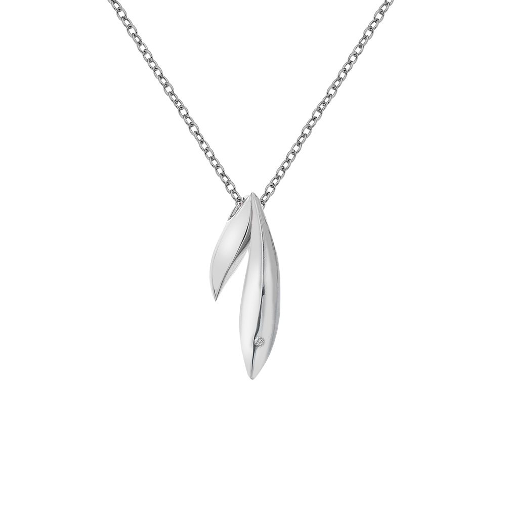 Hot Diamonds Double leaf necklace silver, N/A