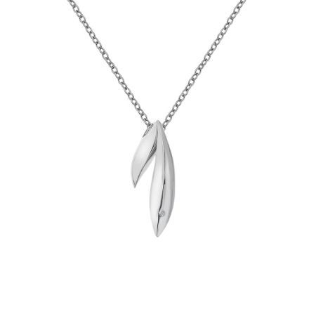 Hot Diamonds Double leaf necklace silver