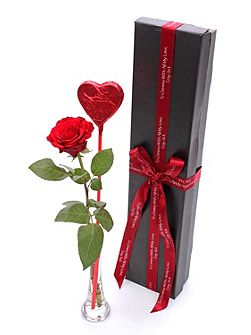 Single rose & lollipop gift box