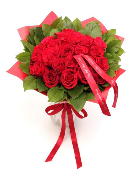 Floric Luxury red rose & salal bouquet