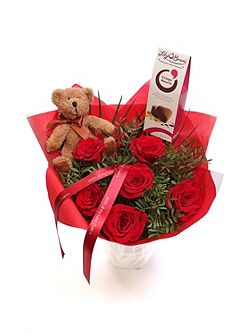 Red rose bouquet with teddy & chocolates