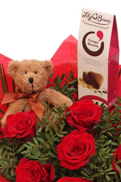 Floric Red rose bouquet with teddy & chocolates