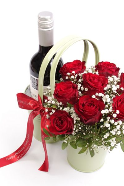 Floric Red wine & roses arrangement