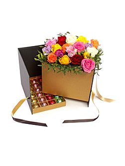 Luxury Chocolate Hamper With Fresh Flowers