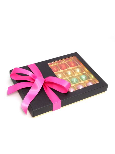 Floric Luxury chocolate truffles with dark pink bow