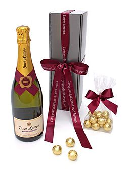 Personalised brut cava & chocolate truffles gift