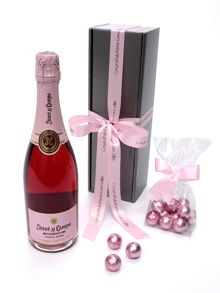 Floric Personalised rose pink cava rosé & chocolate truf