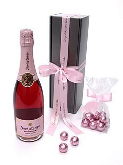 Personalised cava rosé & chocolates truffles