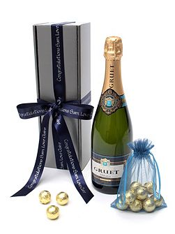 Personalised gruet brut champagne & chocolates