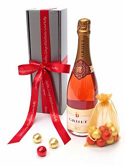 Personalised gruet rosé champagne & chocolates