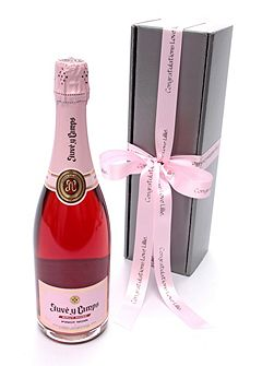 Personalised rose pink cava rosé wine gift box