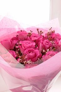 Floric Pink rose & wax flower bouquet