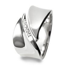 Hot Diamonds Pave leaf silver ring