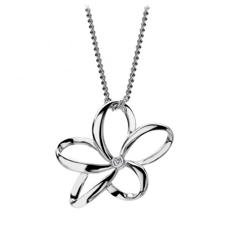 Hot Diamonds Paradise open flower necklace