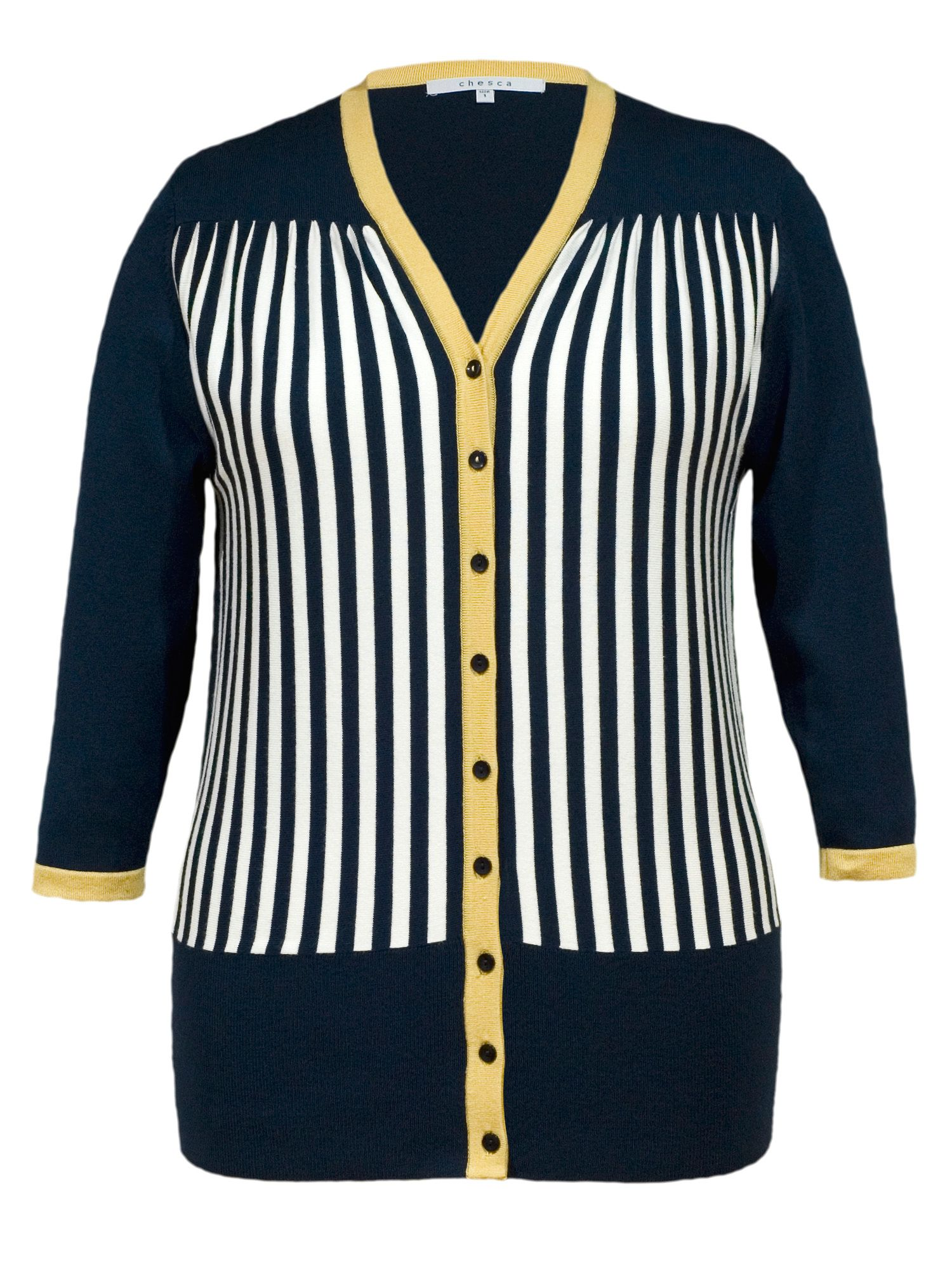 Stripe rib trim cardigan