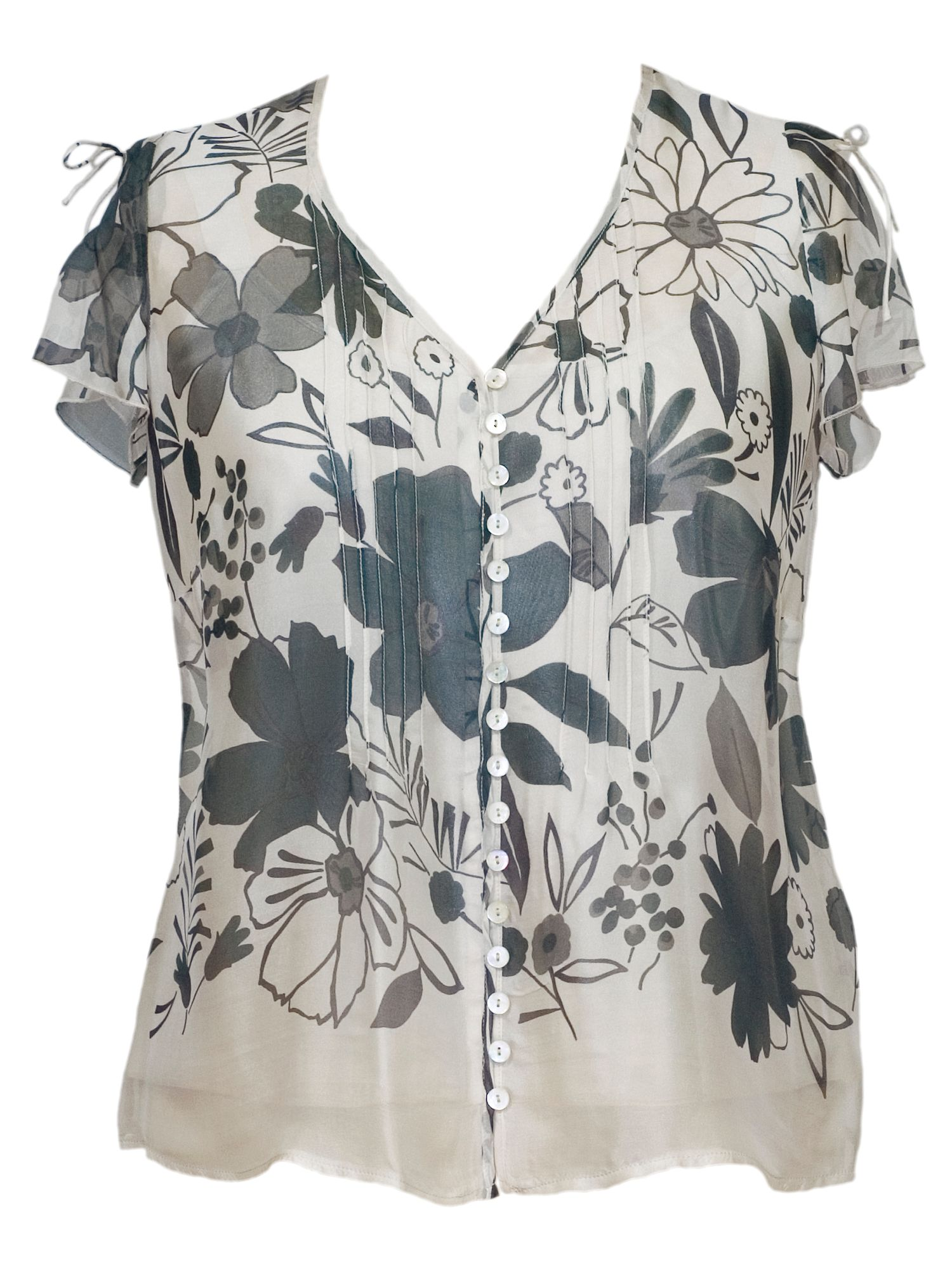 Pintuck trim border print silk blouse with satin