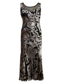 Chesca Plus Size Abstract print devoree dress
