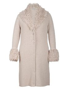Loop collar wicker long cardigan