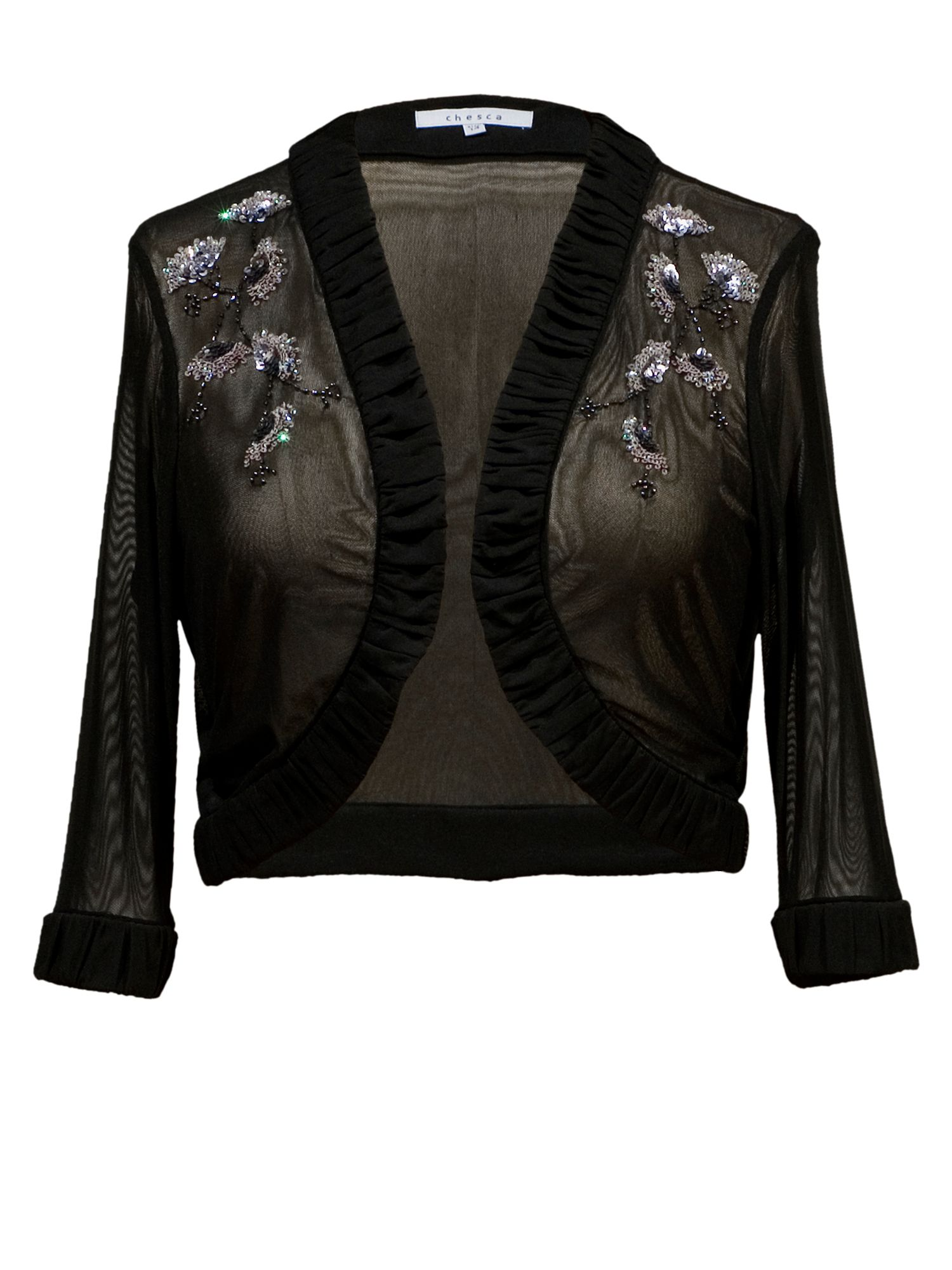 Beaded mesh bolero with ruched trim