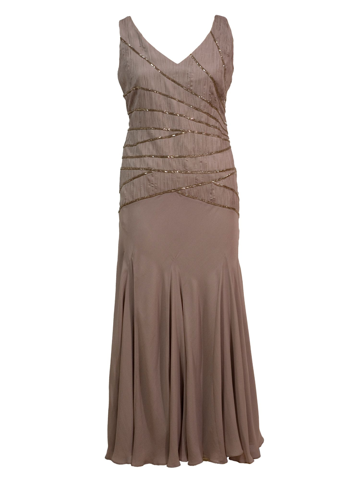 Chesca Plus Size Ruched silk dress with beaded trim $295.00 AT vintagedancer.com