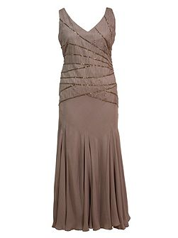 Plus Size Ruched silk dress with beaded trim