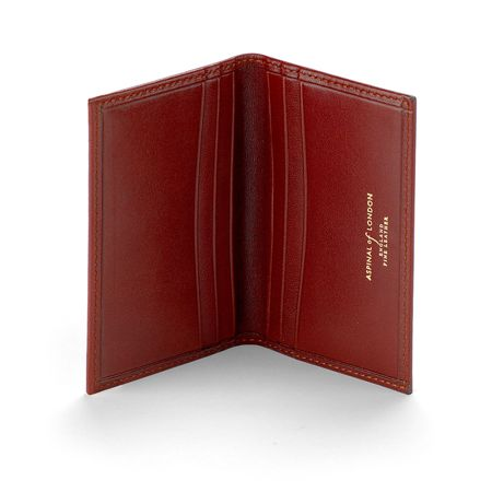 Aspinal of London Smooth Cognac Double fold credit card case