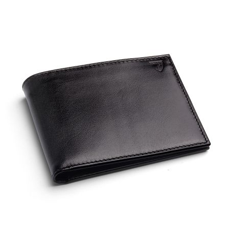 Aspinal of London Coin Wallet in Black EBL & Cobalt Suede