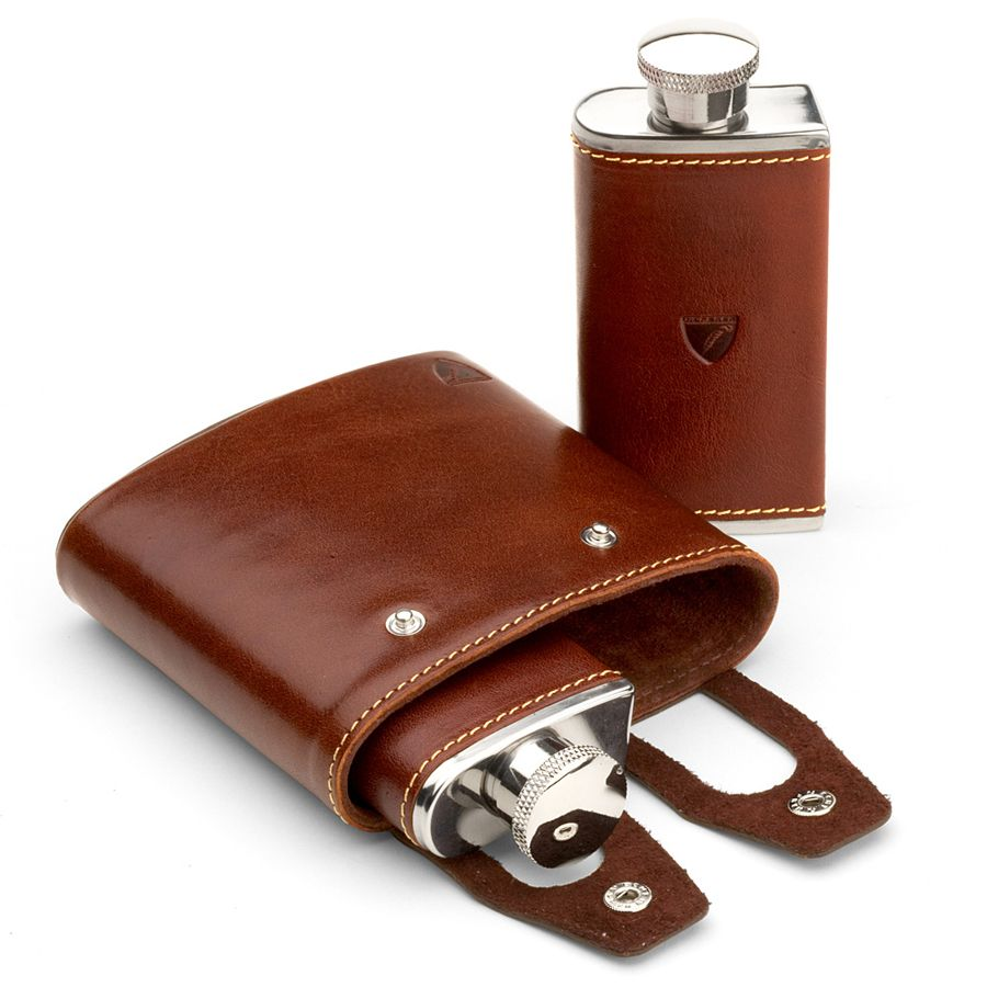 Image of Aspinal of London Double Hip Flask in Cognac & Espresso, Brown
