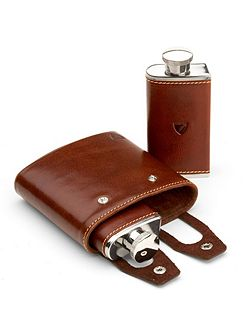 Double Hip Flask in Cognac & Espresso