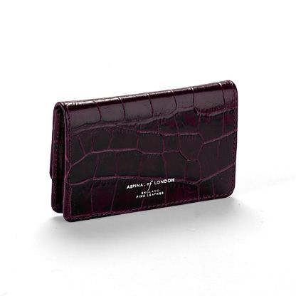 Purple Mock Croc Business & credit card case