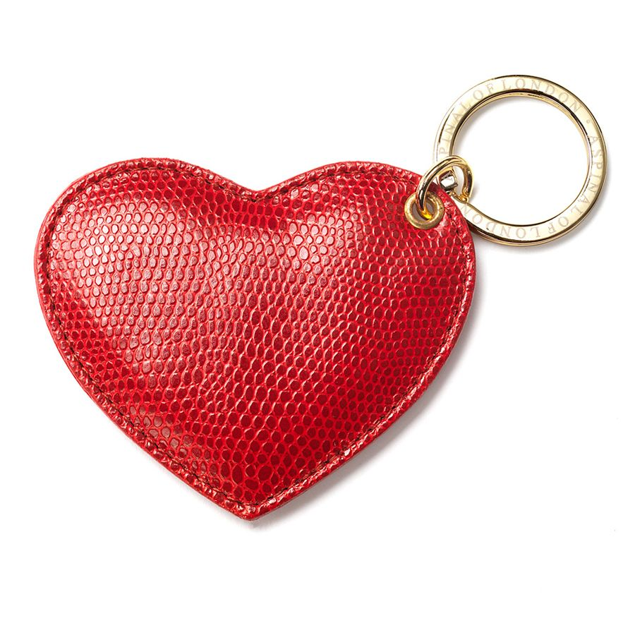 Aspinal of London Heart Leather Keyring Berry