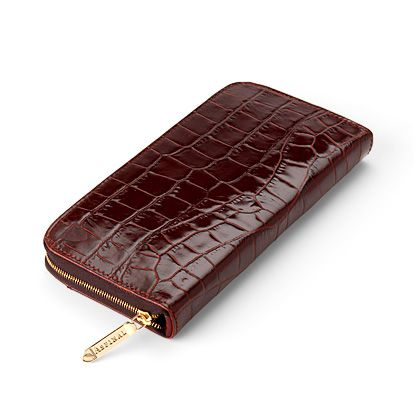 Aspinal of London Continental Clutch Zip Wallet Amazon Brown