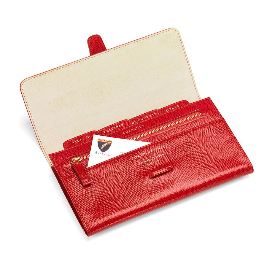 Aspinal of London Classic travel wallet Red