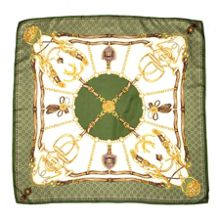 Silk scarf with green horse shoe