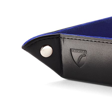 Aspinal of London Mini Tidy Tray in Smooth Black & Cobalt Blue Sued