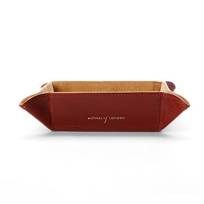 aspinal of london mini tidy tray in smooth cognac and stone suede