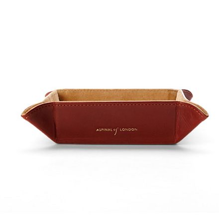 Aspinal of London Mini Tidy Tray in Smooth Cognac & Stone Suede