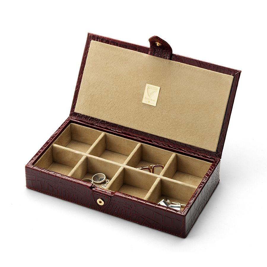 aspinal of london men`s cufflink box  amazon brown croc and stone
