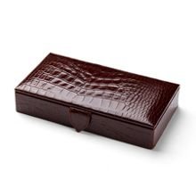 Aspinal of London Men`s cufflink box - amazon brown croc & stone