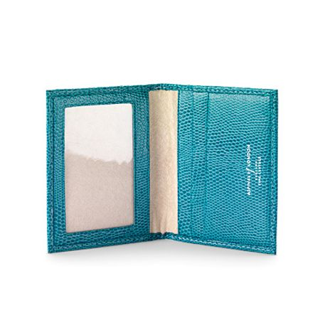Aspinal of London Id & travel card case turquoise lizard print