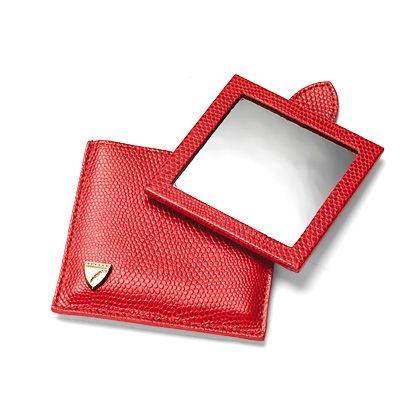 Compact Travel Mirror in Red Lizard Print