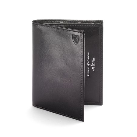 Aspinal of London Double credit card case pocket smooth black