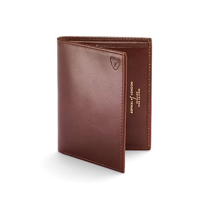 Double credit card case pocket smooth cognac