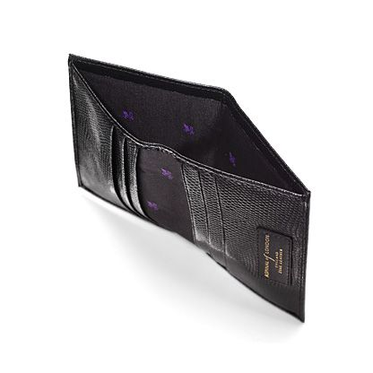 Double credit card case pocket black lizard print